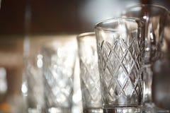 Vinexponeringsglas och stemware Fotografering för Bildbyråer