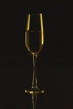 Vinexponeringsglas på en svart spegelbakgrund Arkivfoto