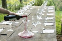 Vinexponeringsglas på en trätabell royaltyfri bild