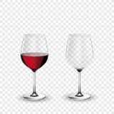 Vinexponeringsglas, tömmer och med rött vin, genomskinlig vektorillustration Royaltyfria Bilder