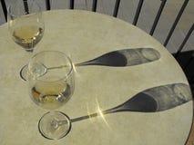 Vinexponeringsglas till Champagne Flute arkivfoto
