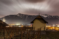 Vineyad and Mountain at night Stock Photo