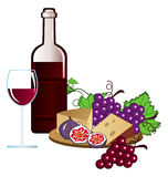 Vineyard. Clip-arts of wine, fruits and cheese vector illustration