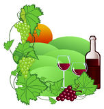 Vineyard. Clip-art of wine and vineyard stock illustration