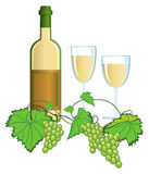 Vineyard. Clip-arts of wine and grapes stock illustration