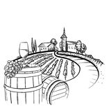 Vineyard barrel and glass drawing vector illustration