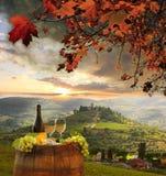 Vineyard in Chianti, Tuscany. White wine with barrel on vineyard in Chianti, Tuscany, Italy stock image