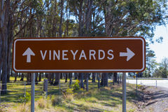 Vineyard Direction Road Sign. Hunter Valley, New South Wales, Australia Stock Image