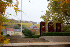 Vineyard and European Stars in Schengen, Luxembourg Royalty Free Stock Image