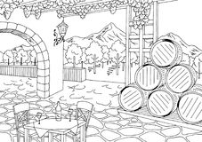 Vineyard graphic black white interior sketch illustration vector. Vineyard graphic black white interior sketch illustration Royalty Free Stock Photos