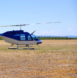 Vineyard & Helicopter. Photograph featuring a helicopter at Aldinga Aerodrome, with a vineyard in the background (McLaren Vale, South Australia royalty free stock images