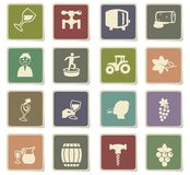 Vineyard icon set Royalty Free Stock Photos