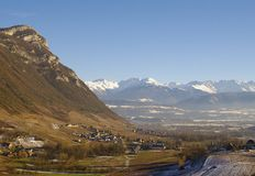 Vineyard landscape. In the french alps in winter Stock Image