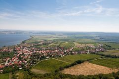 Vineyard near small village, blue sky, agriculture and wine. Look from above. Vineyard near small village, blue sky, agriculture and the wine Royalty Free Stock Photography