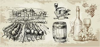 Vineyard-original hand drawn collection stock illustration