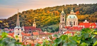 Vineyard of Prague and St Nicholas church Czech Republic. Vineyard of Prague and St Nicholas church, Czech Republic Stock Photos