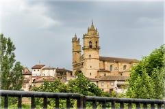 Vineyard of Rioja, Spain. Church in Elciego  Rioja,  Spain with the houses around stock photography