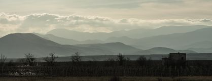 Vineyard in the shade against the mountains and clouds in the rays of the setting sun stock photo