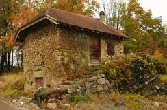Vineyard shelter. Limestone vineyard shelter  in fall in savoie in france Royalty Free Stock Photos