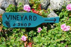 Vineyard Sign. A wooden Vineyard sign, St. Martin's, Isles of Scilly, UK Royalty Free Stock Photo