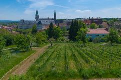 Vineyard in spring, Bamberg. View over vineyard to St James' Church, Bamberg, Upper Franconia, Germany Royalty Free Stock Images