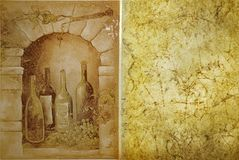 Vineyard template. Vineyard cave with old bottles Royalty Free Stock Images