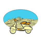 Vineyard travel icon with scooter Stock Images