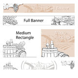 Vineyard Travel Sketch Online Banner Layout Stock Photos