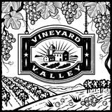 Vineyard Valley black and white. Retro landscape with Vineyard Valley sign in woodcut style. Black and white vector illustration with clipping mask Stock Photography