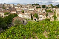 Vineyard and village in France Royalty Free Stock Photos