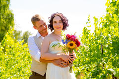 Vineyard Wedding Couple Portrait Stock Photography