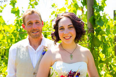 Vineyard Wedding Couple Portrait Royalty Free Stock Image