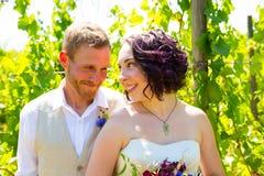 Vineyard Wedding Couple Portrait Stock Photography