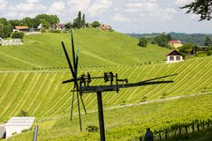 Vineyard with windmill called klapotetz in south of Styria, Austria. Wine, slovenia, nature, heart, green, summer, white, landscape, weinstrasse, tourism stock photos