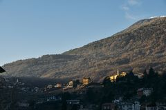 Vineyards above Sondrio an Italian town and comune located in the heart of the wine-producing Valtellina region -. Vineyards above Sondrio an Italian town and stock photography