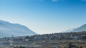 Vineyards above Sondrio an Italian town and comune located in the heart of the wine-producing Valtellina region -. Vineyards above Sondrio an Italian town and Royalty Free Stock Image