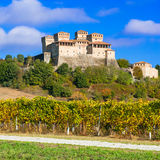 Vineyards and beauiful medieval castle of Torrechiara, Italy Stock Photo