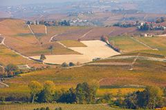 Vineyards, fields and hills in autumn with yellow leaves in Piedmont, Italy Royalty Free Stock Image