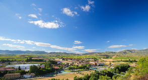 Vineyards in Haro, La Rioja, Spain. View on the famous bodegas or wine houses and vineyards of the Rioja Alta wine region near Haro, La Rioja, Spain stock images