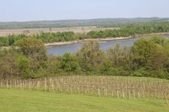 Missouri River view in spring Royalty Free Stock Photo