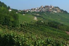 Vineyards of La Morra in italians Langhe. Village of La Morra in italians Langhe Stock Image