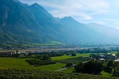 Vineyards located in Aosta Valley with mountains in the background Stock Photography