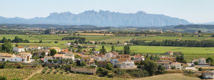 Vineyards with Montserrat peaks at background. Panoramic landscape with a small village surrounded by vineyards and Montserrat multi-peaked mountain at royalty free stock photo
