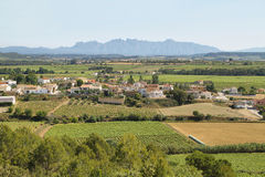 Vineyards with Montserrat peaks at background. Panoramic landscape with a small village surrounded by vineyards and Montserrat multi-peaked mountain at royalty free stock image