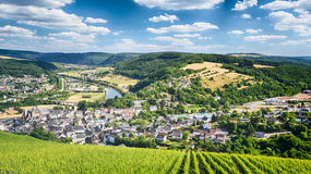 Vineyards and Mountains near Saarburg Royalty Free Stock Image