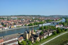 Vineyards near the Marienberg castle in Wuerzburg at the river M. Ain on a sunny day and blue sky Royalty Free Stock Photography