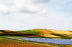 Vineyards with solar panels, miniature style. A detailed view of some hills and vineyards with a field of solar panels in the middle, pop colours, miniature stock images