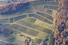 Vineyards in Southern Germany. Aerial view of vineyards during autumn in Baden-Wurttemberg in Southern Germany stock photography