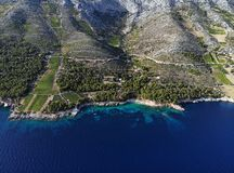 Vineyards on souths side of island Hvar, Croatia. stock photography