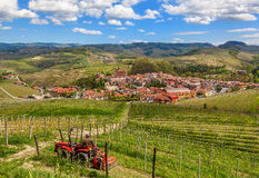 Vineyards and town of Barolo in Italy. Stock Images